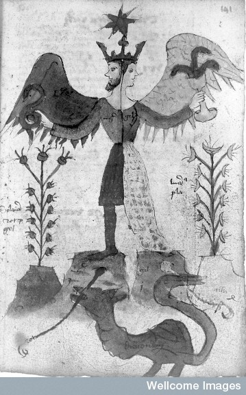 Androgyne holding snake and chalice.