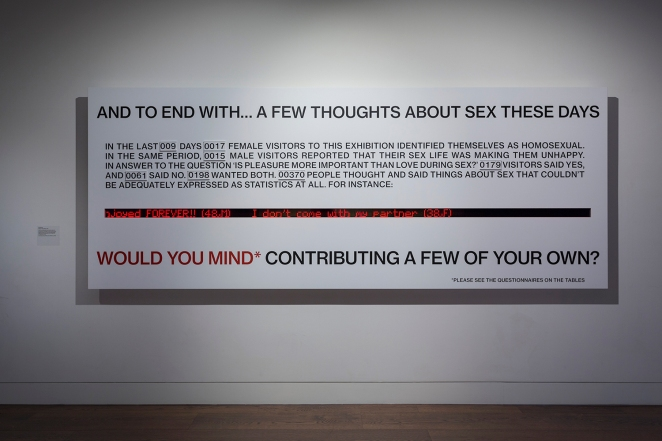WOULD YOU MIND? Neil Bartlett commission for The Institute of Sexology exhibition, Wellcome Collection, 2015. (Image: Wellcome Collection, copyright: Neil Bartlett.)