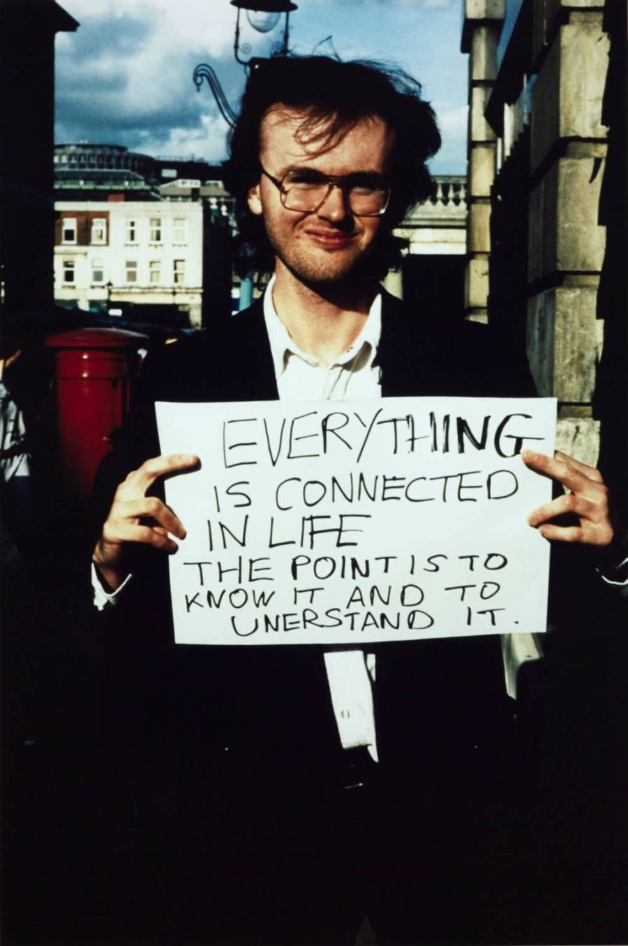 """Gillian Wearing, """"Everything is connected in life..."""", 1992-93. Chromogenic print on paper. Courtesy of the artist and Tate, London."""