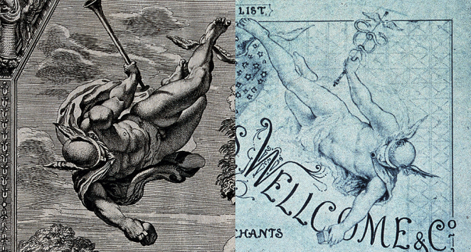 Spot the difference 1: Seventeenth-century etching of Mercury and a section from an 1880s Burroughs Wellcome price list (from Wellcome Images).