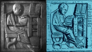 Spot the difference 2: Cast of a fourth-century marble and a 1920s Kepler Malt Extract blotter (from Wellcome Images).