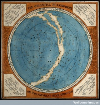 Joseph Cornell combined star charts like this with glasses, shells and balls in his shadow box 'Planet Set'.