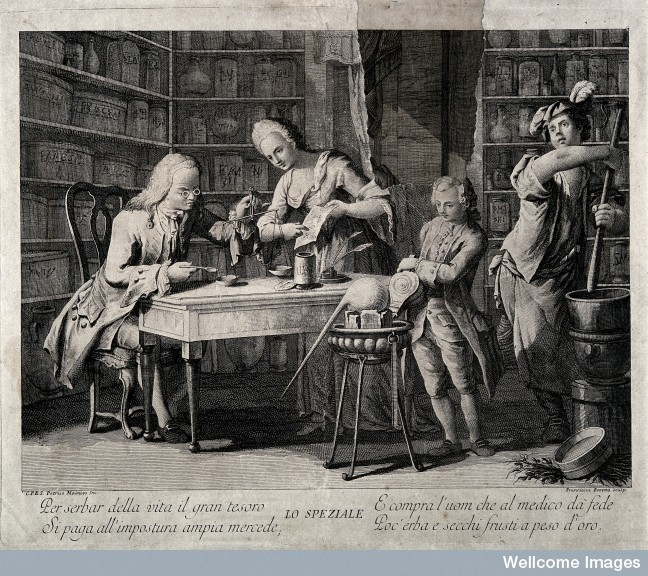 Like the Renaissance apothecaries before them, these eighteenth-century pharmacists are employing their collection to manufacture a prescription.