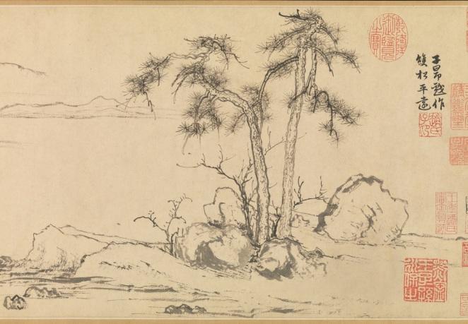 Zhao_Mengfu_Twin_Pines,_Level_Distance