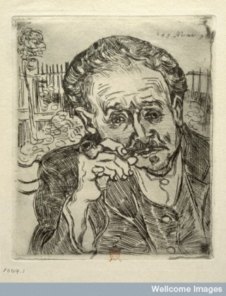 V0002158 Paul Ferdinand Gachet. Etching by V. van Gogh, 1890.