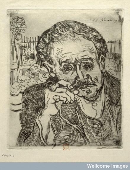 V0002158 Paul Ferdinand Gachet. Etching by V. van Gogh, 1890.