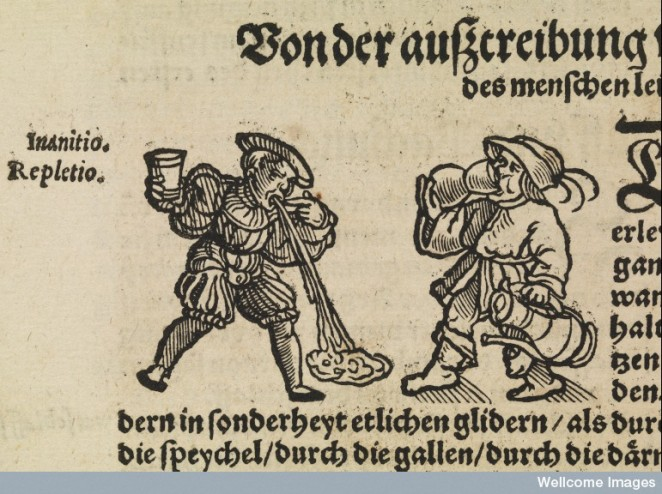 L0069446 Woodcut of drinking and vomiting