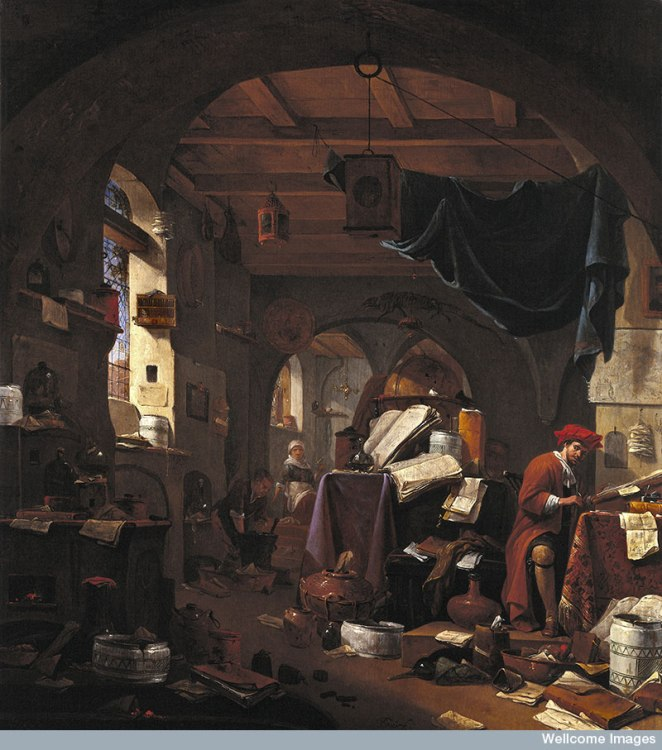 Interior with an alchemist. Oil painting by Thomas Wijck.