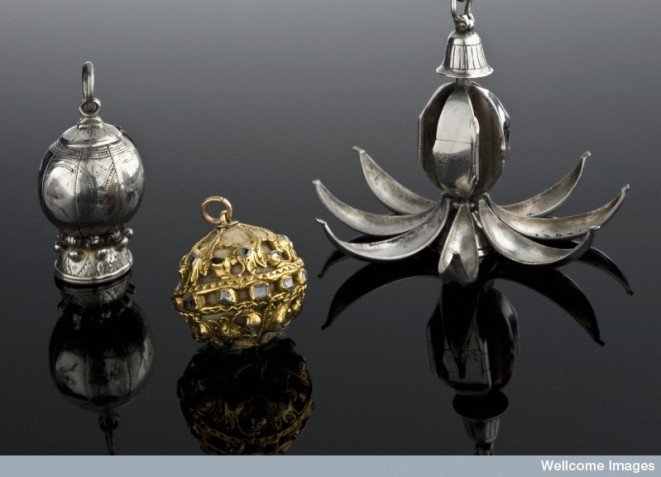 Pomanders were often spherical, studded with precious stones or divided into sections for different fragrant substances.