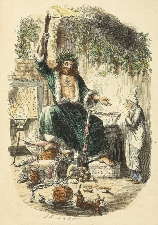 Dickens' Ghost of Christmas Present (illustrated by John Leech) resembles the image of Father Christmas.