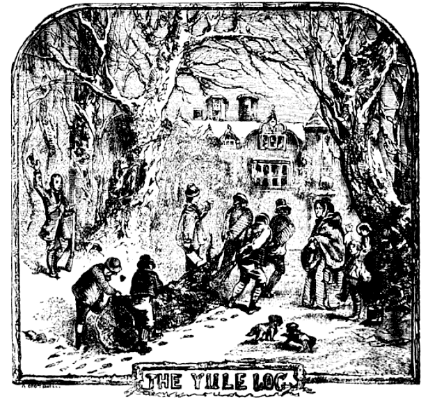 People carrying a Yule log from Chambers Book of Days (1864)