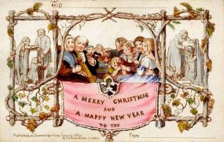 The first Christmas card, designed by John Callcott Horsley in 1843.