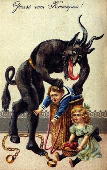 "1900s greeting card reading ""Greetings from Krampus!"" in German."