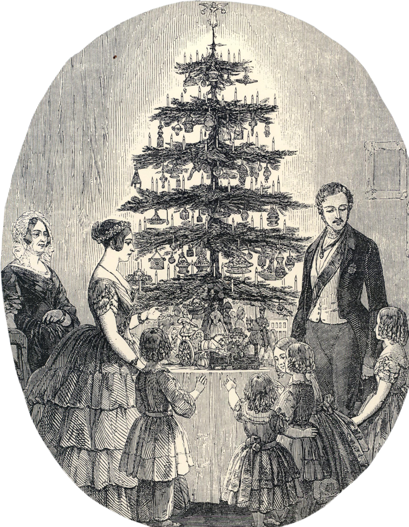 Christmas 1848. The Victorian Royal family around a decorated evergreen, the first Christmas tree that most British people ever saw. (Illustrated London News)