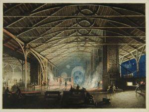 Cyfarthfa Ironworks Interior at Night, Penry Williams, 1825.