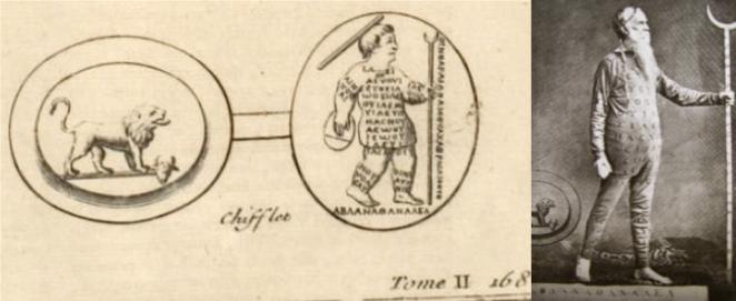 Left: Image from Bernard de Montfaucon's L'Antiquité expliquée et représentée en figures, 1719. Right: William Price in the costume inspired by it, on stage in 1884.