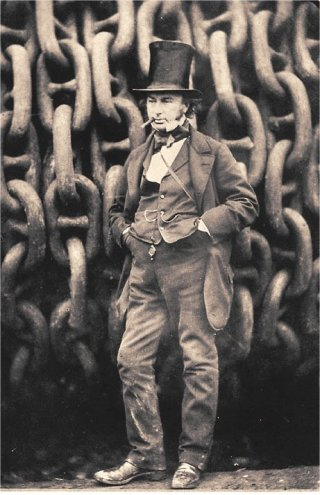 Brunel in front of chains made at the Brown Lenox ironworks, 1859