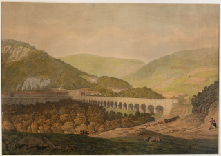 View of a stone bridge across the valley and river at Risca. (Image: Llyfrgell Genedlaethol Cymru – The National Library of Wales)