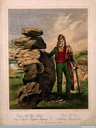 William Price at Y Maen Chwyf. Colour lithograph by Newman & Co, 1861.