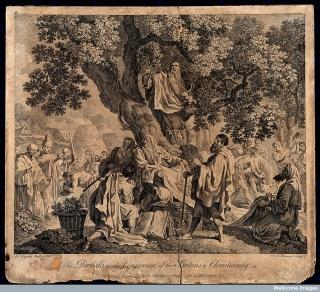 """""""The druids; or the conversion of the Britons to Christianity"""". Engraving by S.F. Ravenet, 1752."""