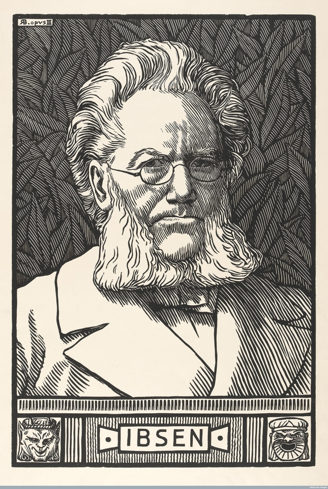 Norwegian playwright Henrich Ibsen, famous for plays such as 'A Doll's House' and 'Hedda Gabler'.
