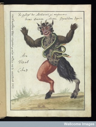 A demon featured in an occult manuscript in our collection.