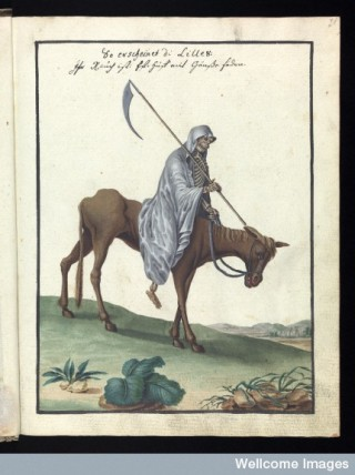 The Grim Reaper as featured in an occult manuscript in our collection.