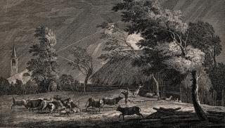 This engraving's composition is slashed by the lightning's diagonal forks, echoed in the bending trees and lunging figures.