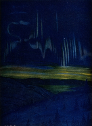 Max Raebel (1874-1946) was a German composer, painter and polar explorer who made many paintings of the Northern Lights.