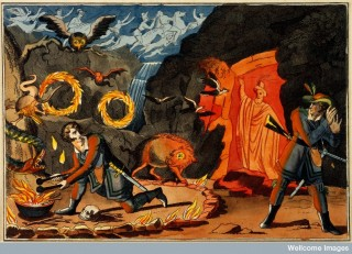Witchcraft and magic: a man conducting magic rites, devils and a ghost appearing, and a hunter cowering in terror.