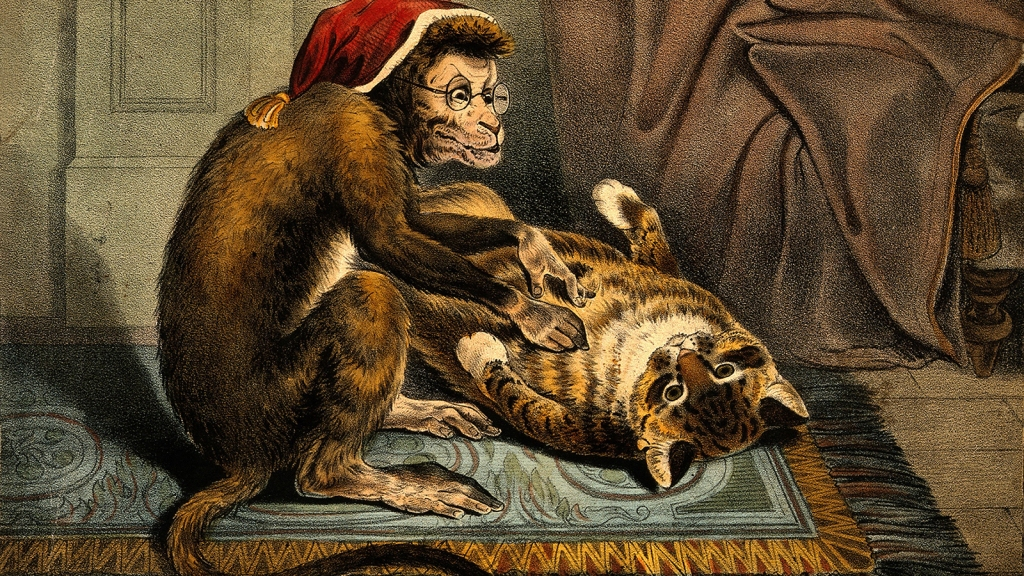 A monkey doctor, wearing glasses and a hat, examines a supine cat.
