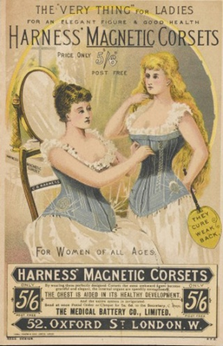 Harness' Magnetic Corsets, for ladies for an elegant figure. It is said to aid the chest in its healthy development. circa 1892.