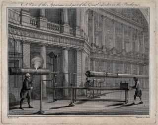 This illustration probably depicts Benjamin Wilson's electrical demonstration of 1777 for King George III.