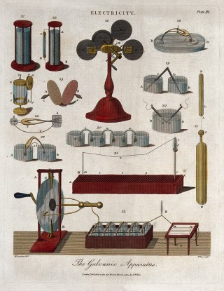 "This illustration of ""Galvanic apparatus"" was reproduced in the 'Encyclopaedia Londinensis, or, Universal Dictionary of Arts, Sciences, and Literature' published in 1810-29."