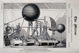 "In 1839 the ""Yearbook of facts in science and art"" described this apparatus as ""the largest in the world"", giving a length of spark ""hitherto deemed unattainable""."