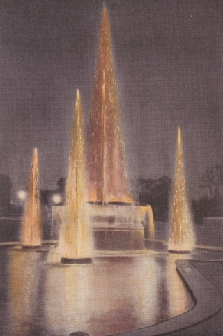The dazzling combination of light and falling water made the illuminated fountain a popular installation at technology exhibitions and elsewhere.