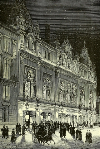 The electric illuminations of the Éden-Théâtre in Paris were focused on its spectacular façade, which was inspired by Indian architecture.