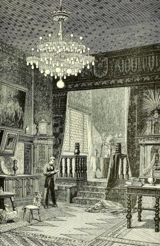 Incandescent lamps were preferred in galleries, displaying valuable objects, as cleaner and safer sources of illumination than gas lamps.