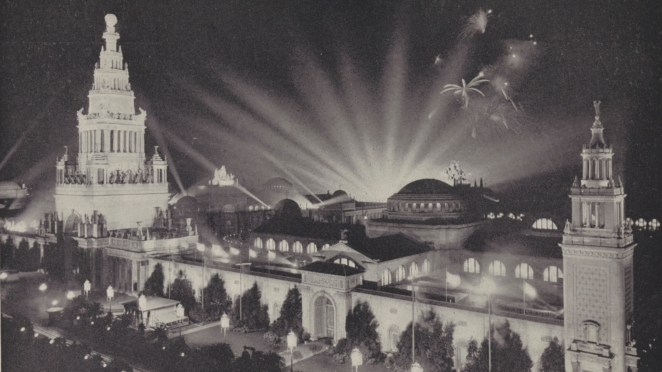 "The Panama-Pacific International Exposition Brochure described the ""soft, restful, yet perfect light"" afforded by the ""entirely new system of floodlighting""."