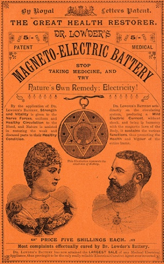 "Dr Lowder's Medico-electric Battery. Described as an ""Electric Skin Battery"", the medallion claims to help skin disease, tooth ache, rheumatism and even heart disease."
