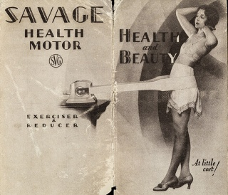 "Savage Arms Corporation Health Motor: ""the ideal exercise for building up and maintaining health and also for removing excess fat"". circa 1930."