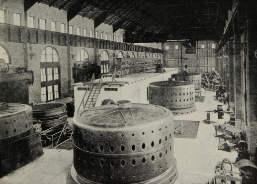 The hydroelectric power station exemplified the idea of humankind's control over nature through technological advancement.