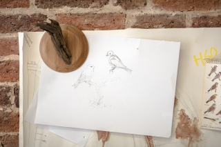 Pencil drawings and plans pinned to the walls of Jazmine's studio.