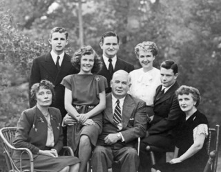 The Marston-Holloway-Byrne family. Left to right: Marjorie Wilkes Huntley, Byrne Marston, Olive Ann Marston, Pete Marston, William Moulton Marston, Olive Byrne, Donn Marston, and Elizabeth Holloway Marston (1947)