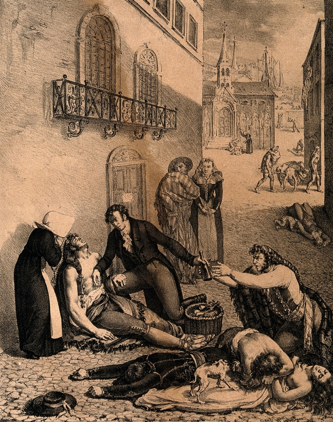 V0010539 André Mazet tending people suffering from yellow fever in th