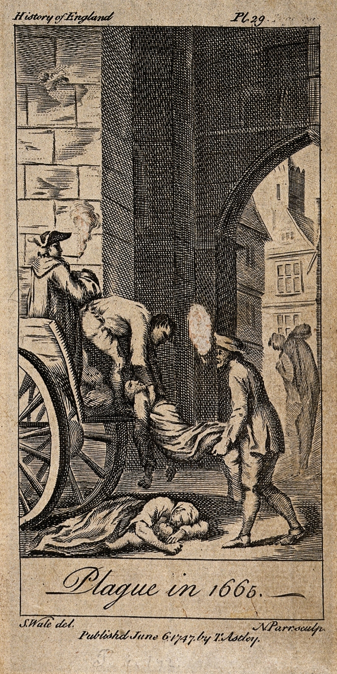 V0010611 Victims of the plague in 1665 being lifted on to death carts