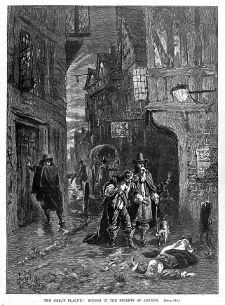 A London street during the 1665 plague, J Jellicoe, 19th century.