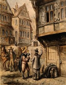 A London street during the 1665 plague, George Cruikshank, 19th century.