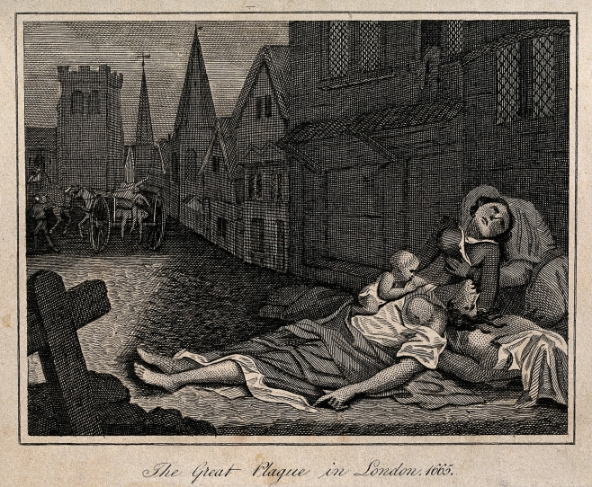 Two dead women lying in a London street during the 1665 plague, Robert Pollard, 18th or 19th century.