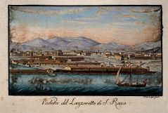 The lazaretto, or isolation hospital, at Livorno, Italy, P Lapi, 1824.